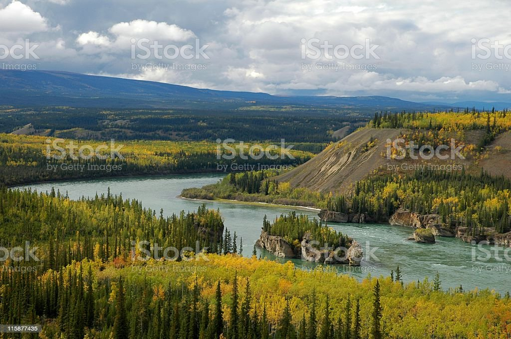 Five Finger Rapids,Yukon Territory. royalty-free stock photo