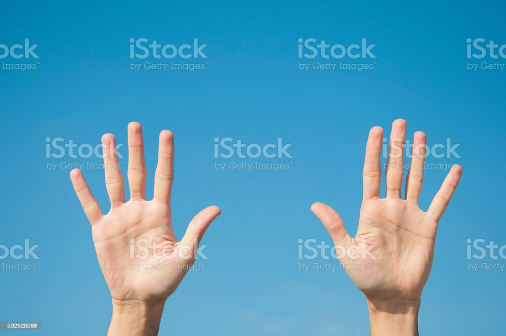 Five fingers with two hands stock photo