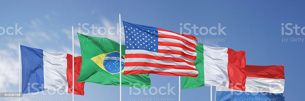 Five flags in the wind stock photo
