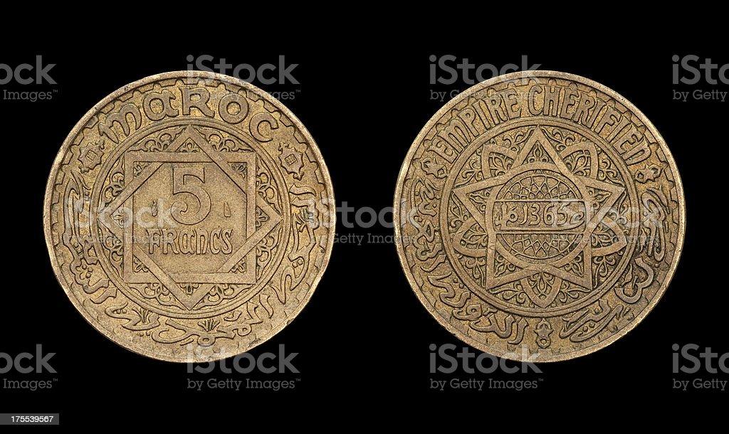 'Five Franc coin, Maroc, 1946' stock photo