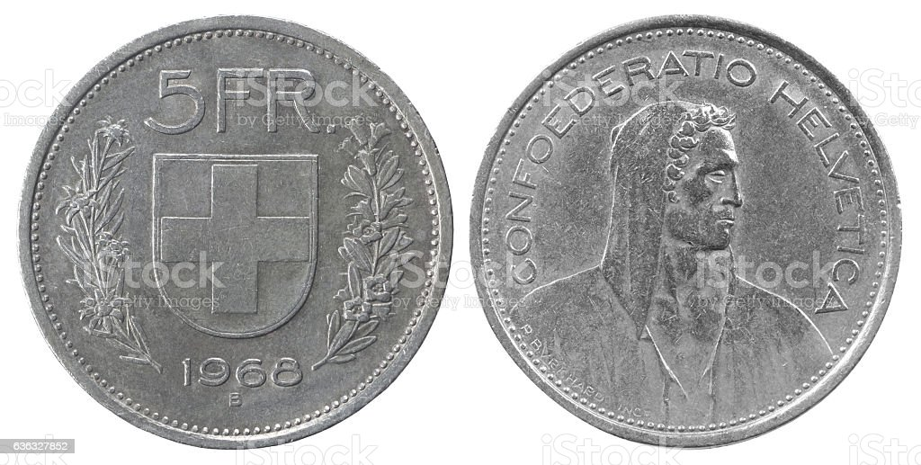 five francs coin stock photo