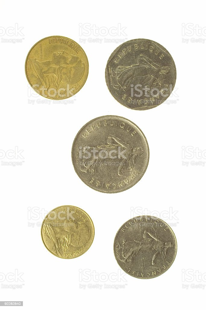 Five French Coins royalty-free stock photo