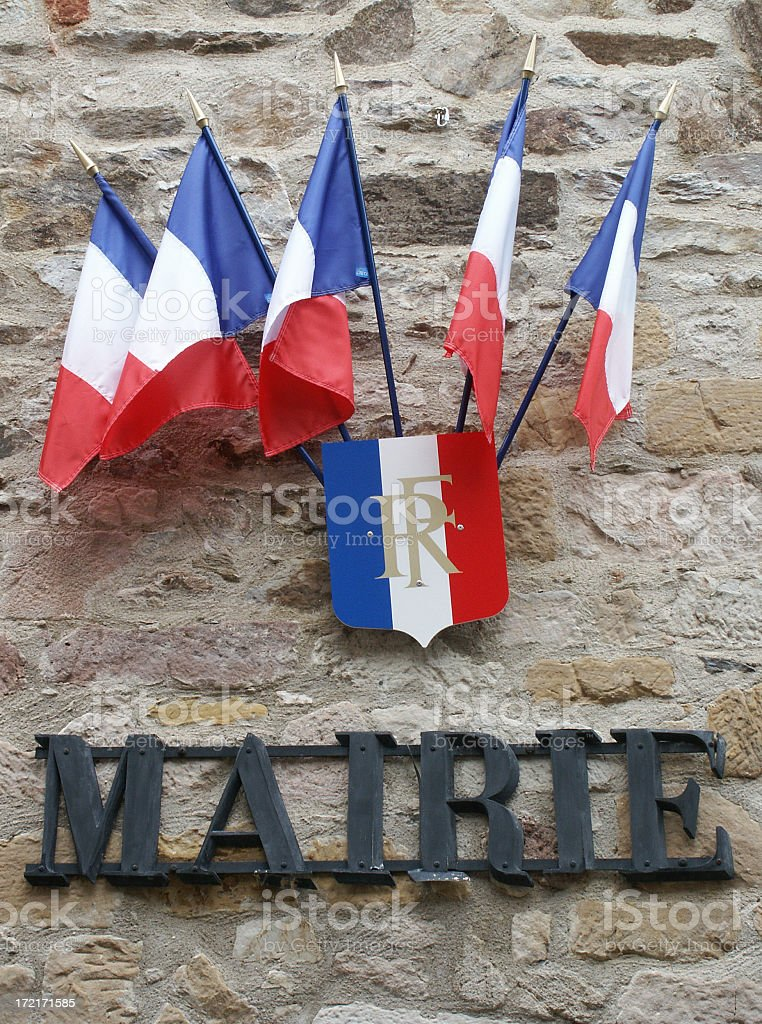 Five french flags royalty-free stock photo