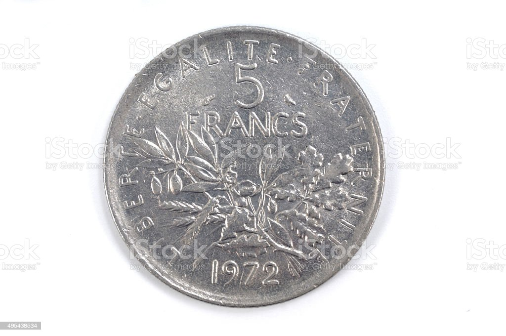 five French Franc 1972 stock photo