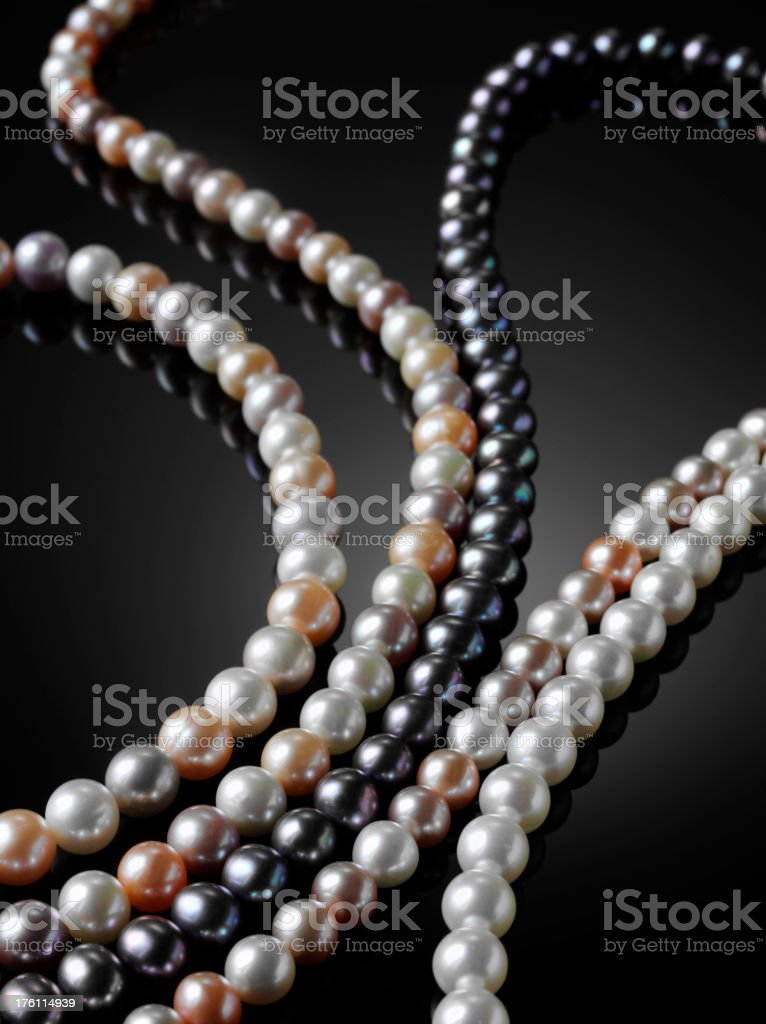 Five Freshwater Pearl Necklaces stock photo