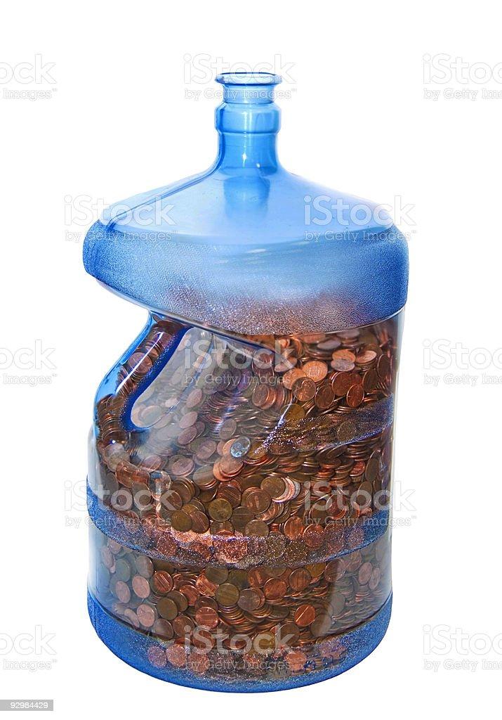 Five Gallon Jug of Pennies stock photo