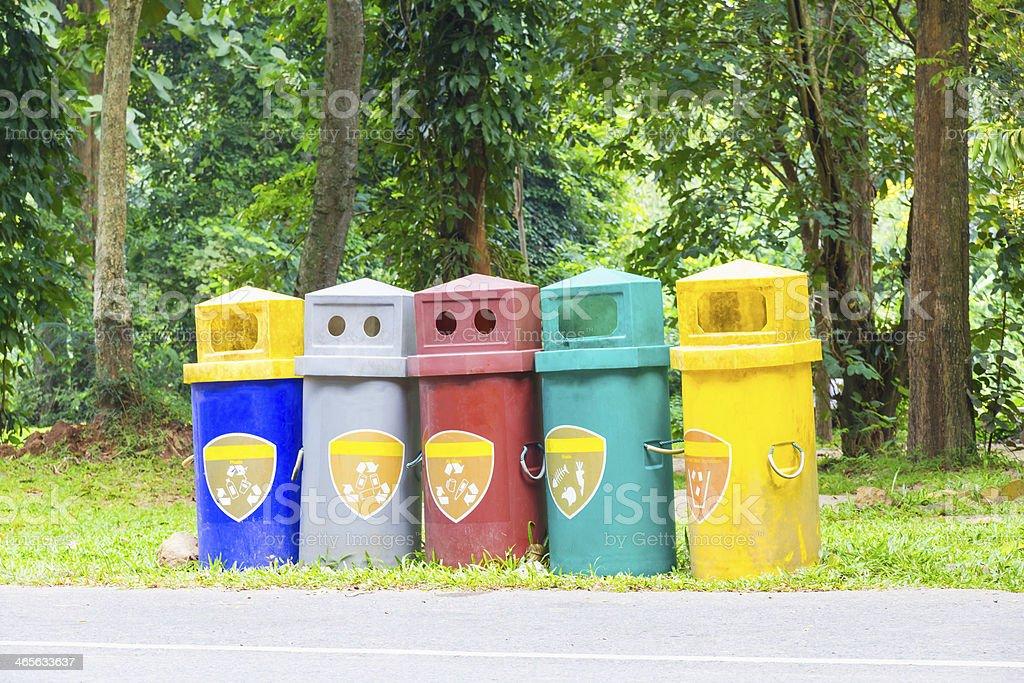 Five garbage bins royalty-free stock photo