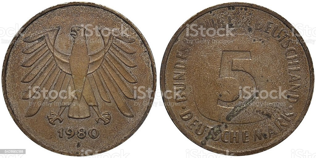 Five German Mark coin formerly used in Germany stock photo