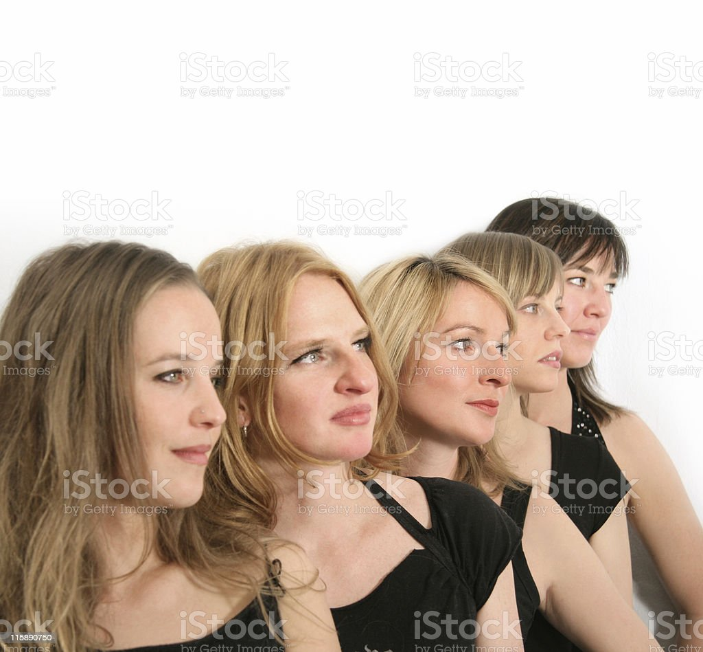 Five girls in a line royalty-free stock photo