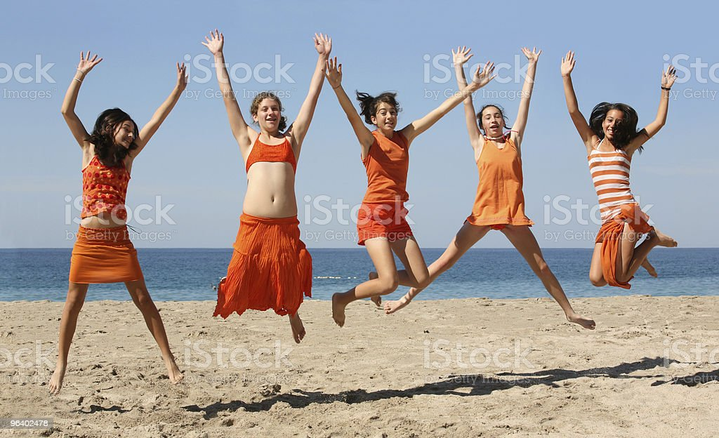 Five girls jumping royalty-free stock photo