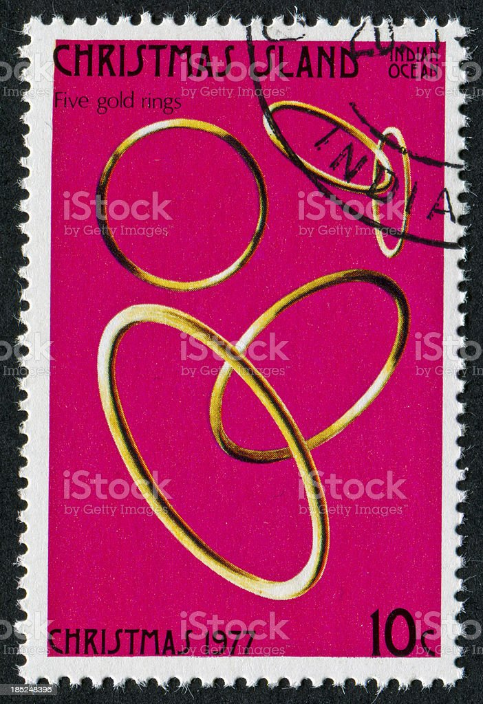 Five Gold Rings Stamp stock photo