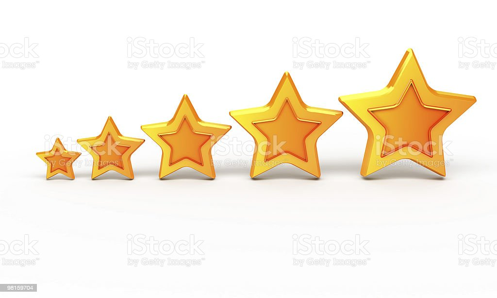 Five gold stars for ranking stock photo