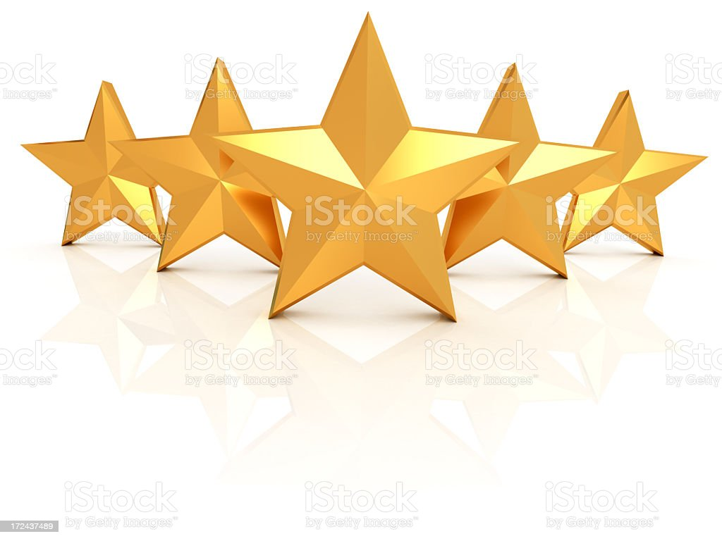 Five gold stars in pointed formation stock photo