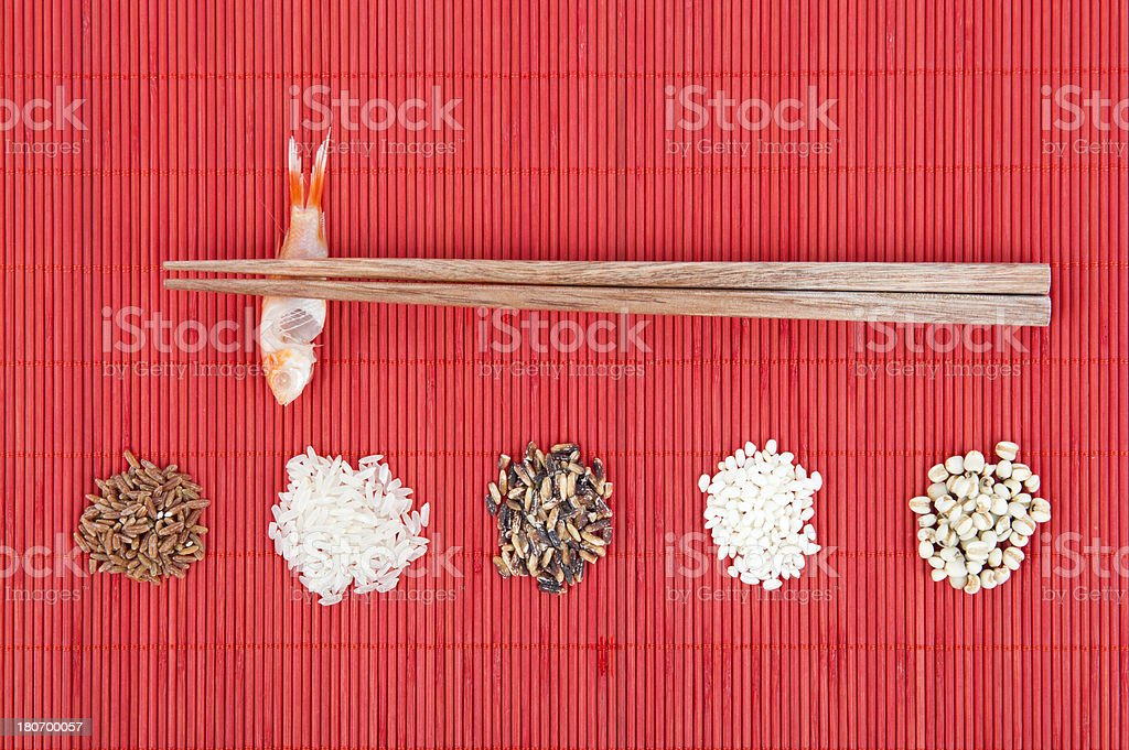 Five Grains and Chopsticks royalty-free stock photo