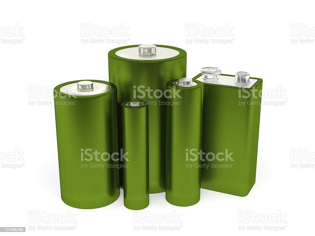 Five green batteries in different sizes royalty-free stock photo