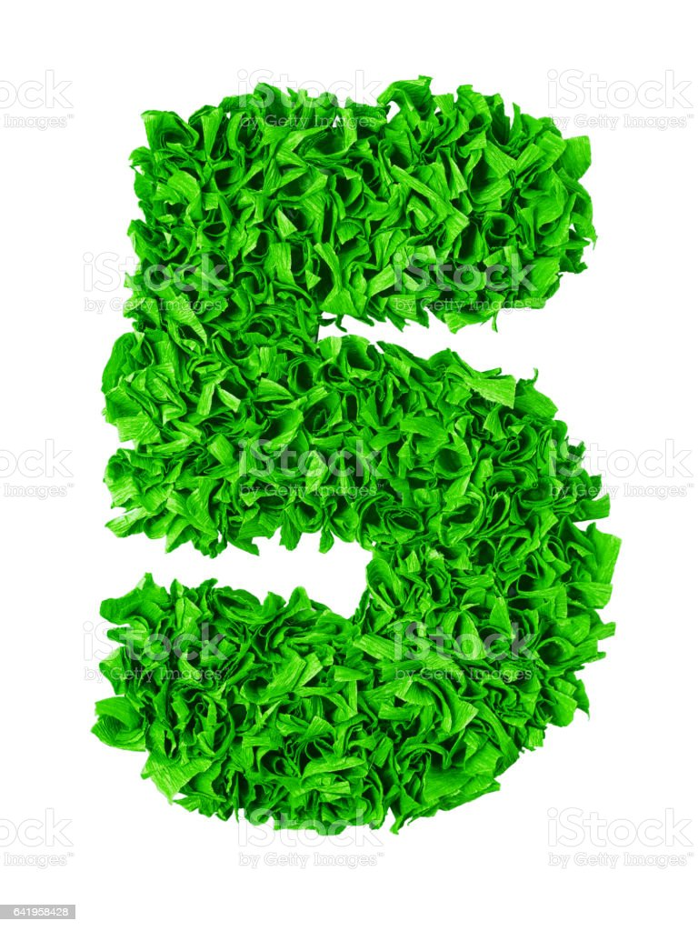 Five. Handmade number 5 from green scraps of paper stock photo