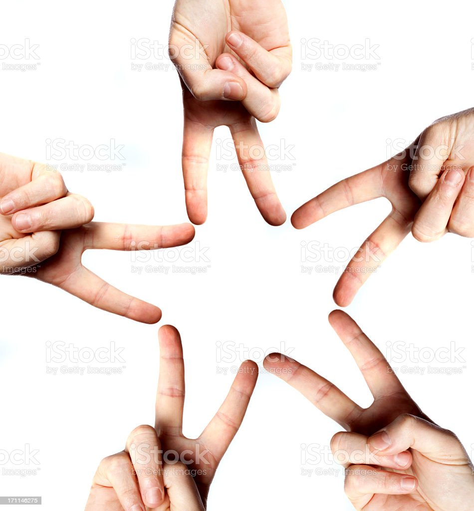 Five Hands Star royalty-free stock photo