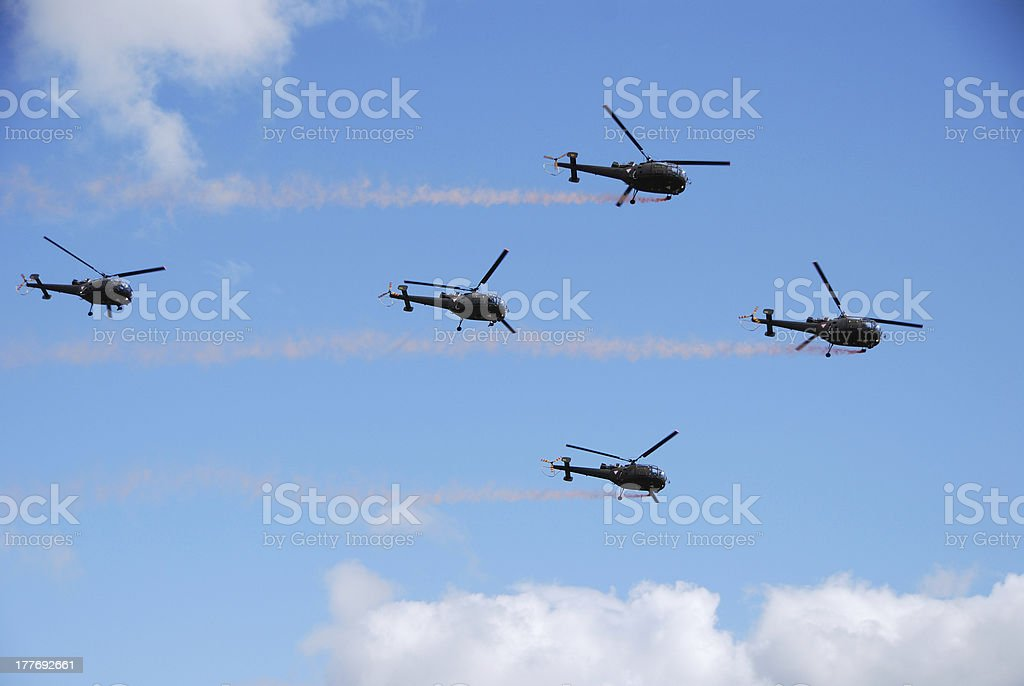 five helicopter royalty-free stock photo