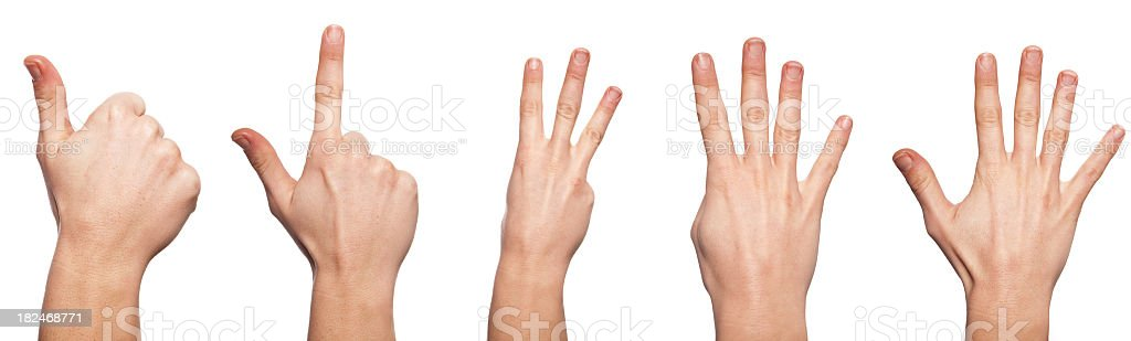 five human hands, counting royalty-free stock photo