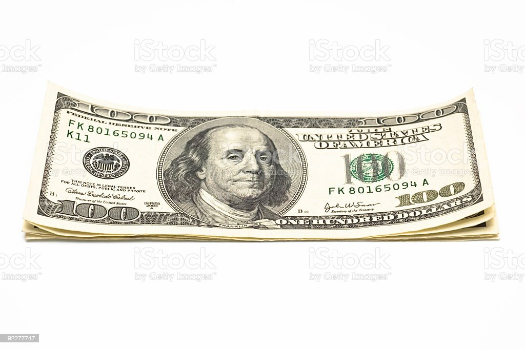 $500, Five hundred dollars stacked on white stock photo