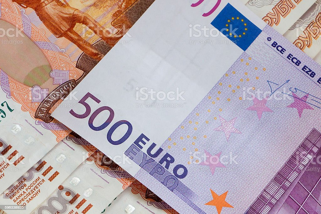five hundred euro banknote on russian rubles stock photo