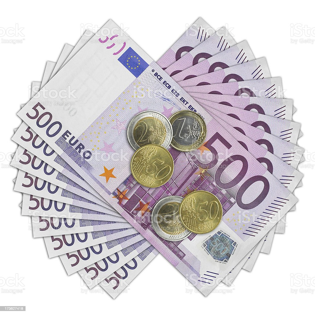 Five hundred euro bill and coins stock photo