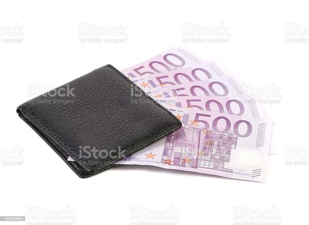 Five hundred euro in purse. stock photo