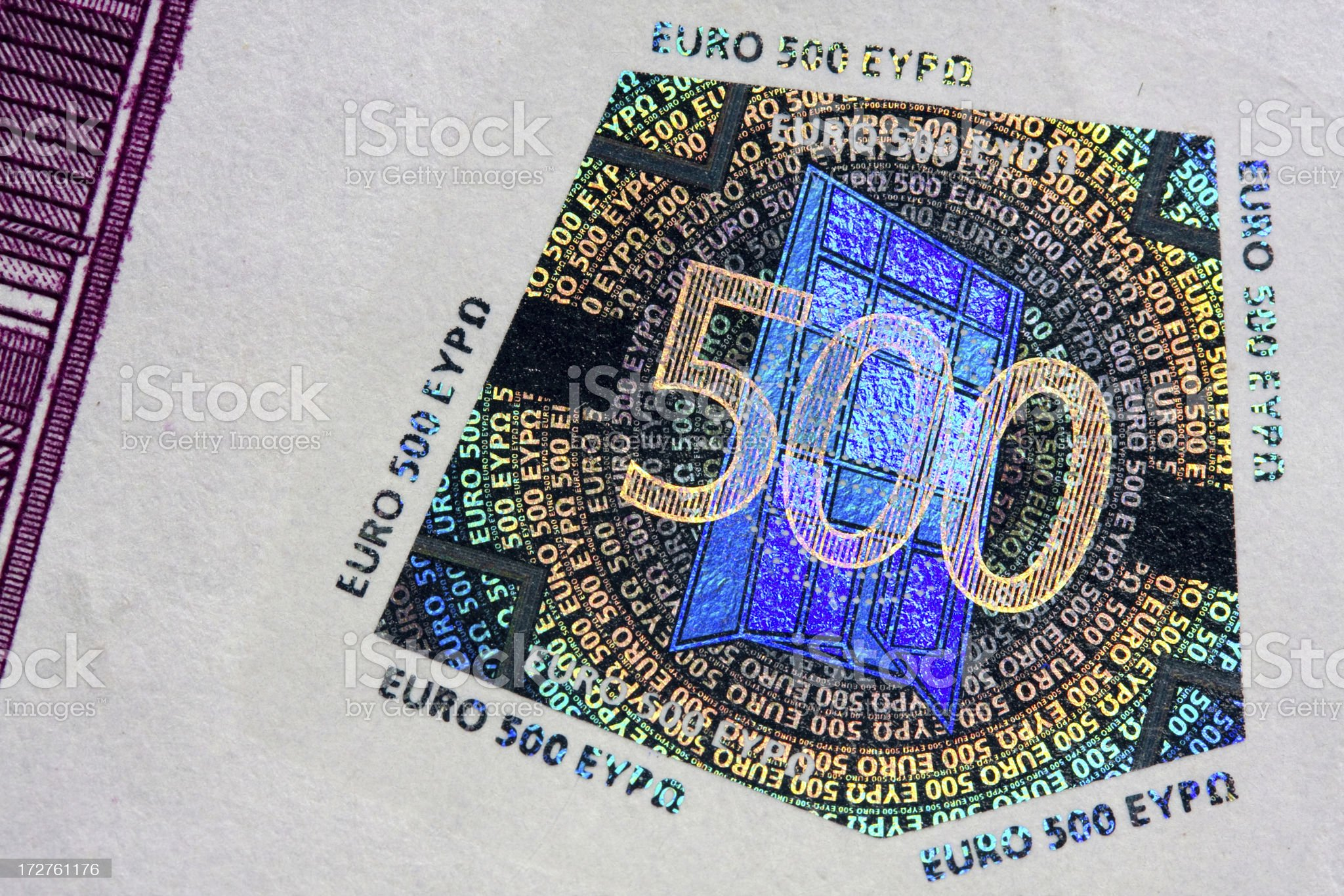 Five hundred euro note hologram royalty-free stock photo