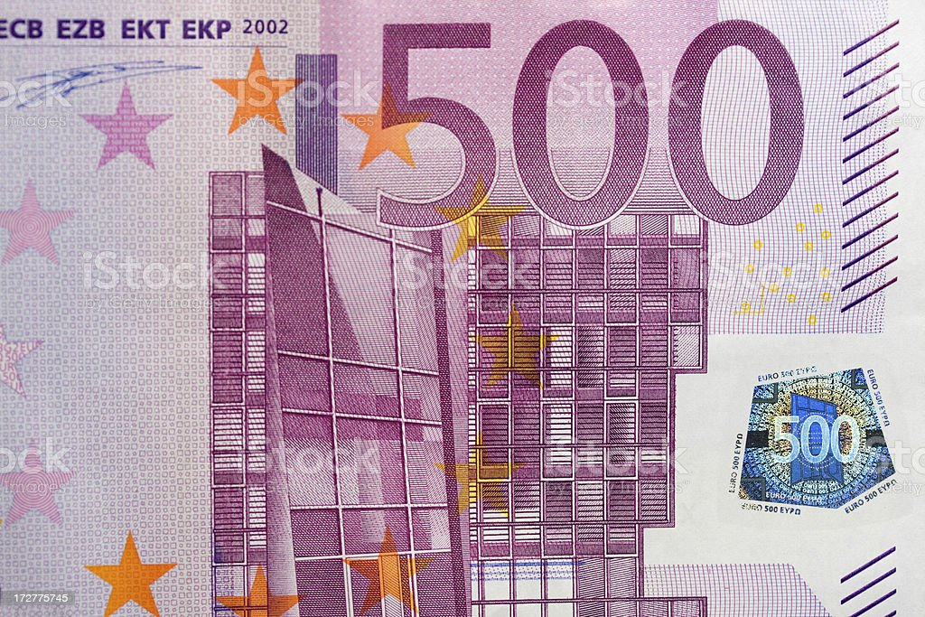 Five hundred euro note with hologram royalty-free stock photo