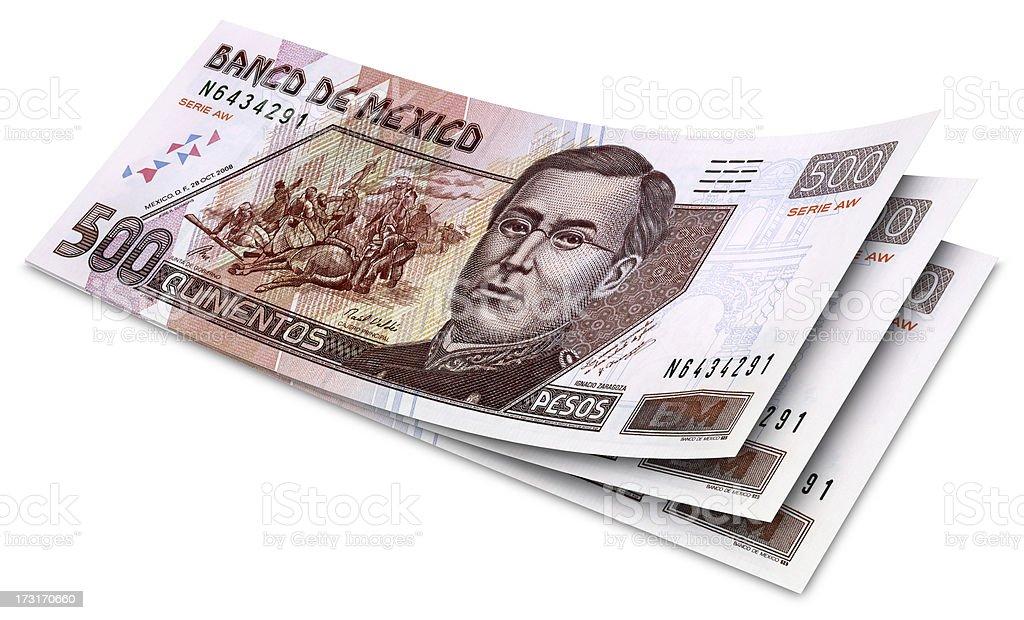 Five Hundred Mexican Pesos Banknotes stock photo