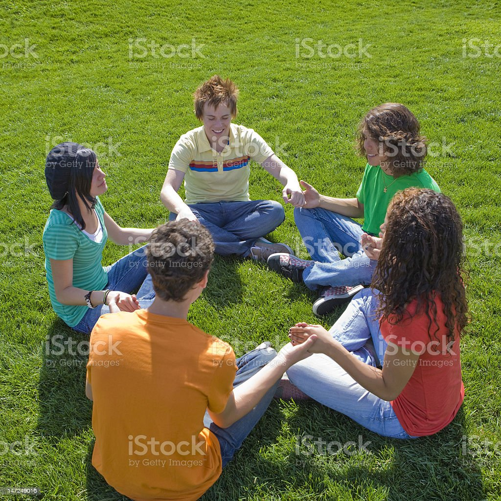 Five kids at park royalty-free stock photo