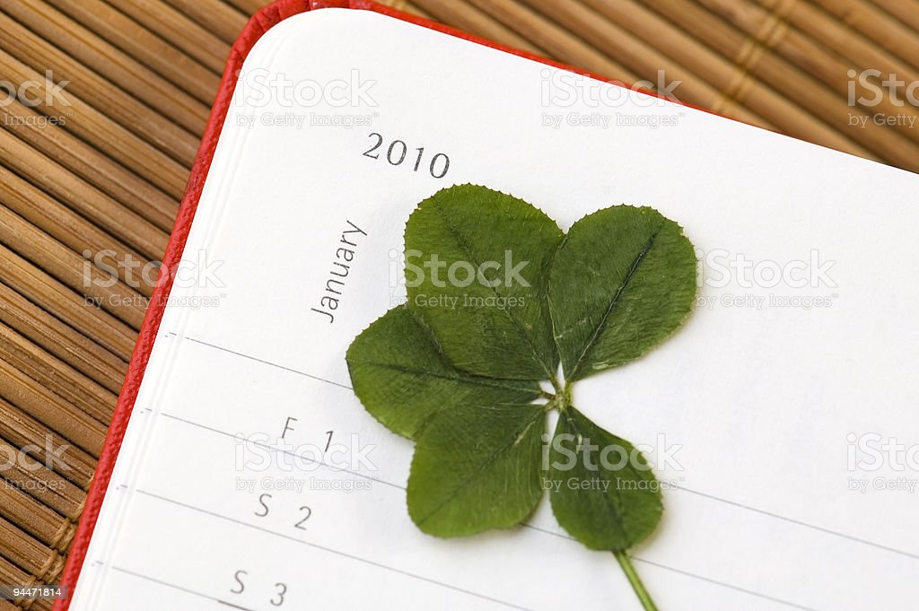 Five Leaf Clover and New Year. January 2010. royalty-free stock photo