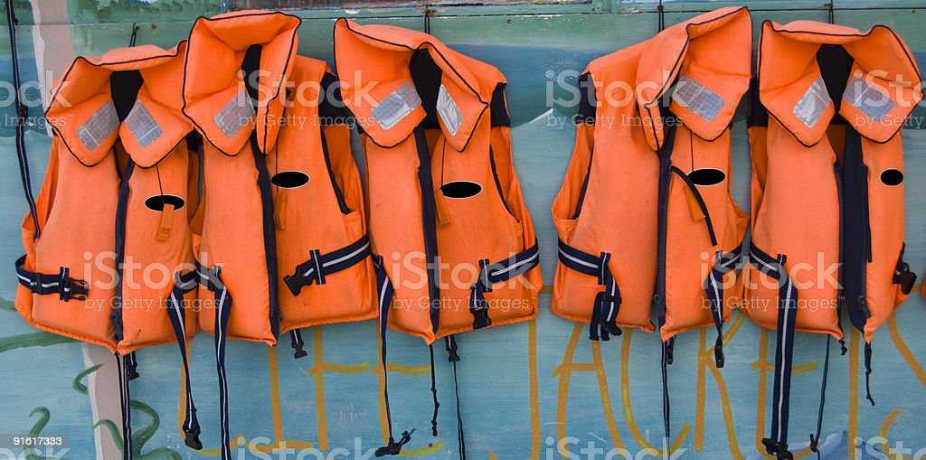 Five Life Jackets royalty-free stock photo