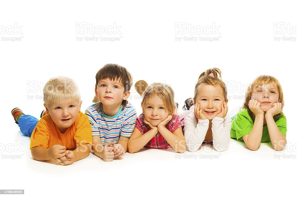 Five little isolated on white kids stock photo