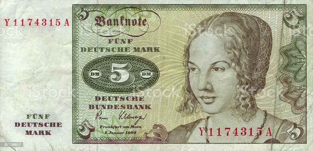 Five Mark Bill royalty-free stock photo