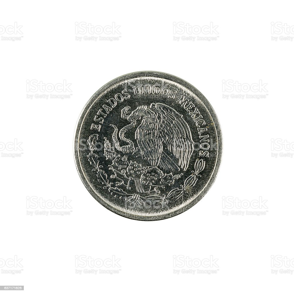 five mexican centavo coin (1993) isolated on white background stock photo