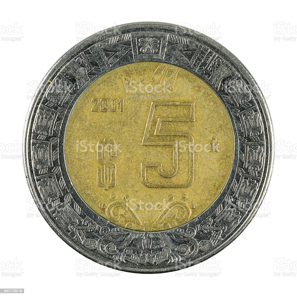 five mexican peso coin (2001) isolated on white background stock photo