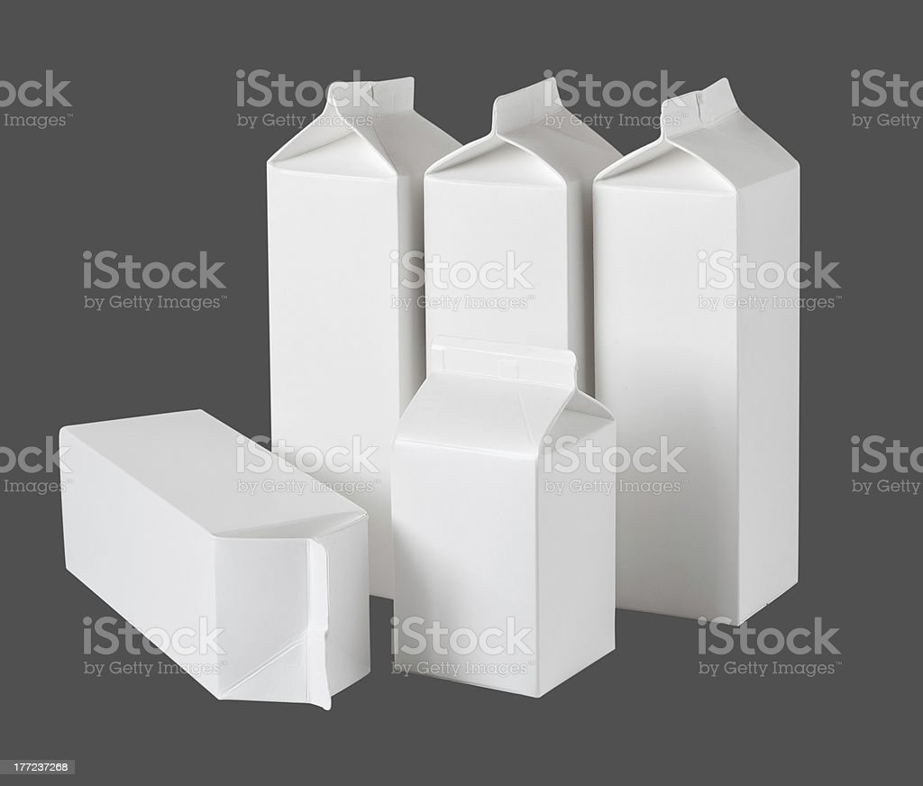 Five Milk Boxes per half liter on White royalty-free stock photo