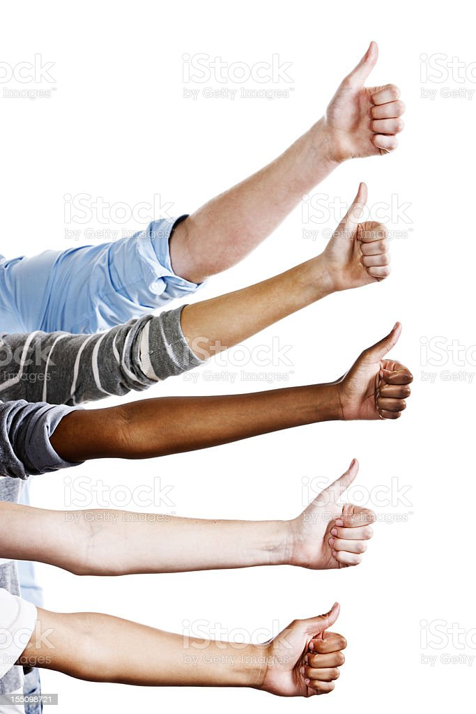 Five mixed hands in vertical stack give approving thumbs up royalty-free stock photo
