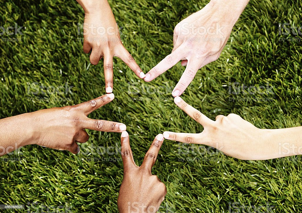 Five mixed hands make star shape against grass royalty-free stock photo