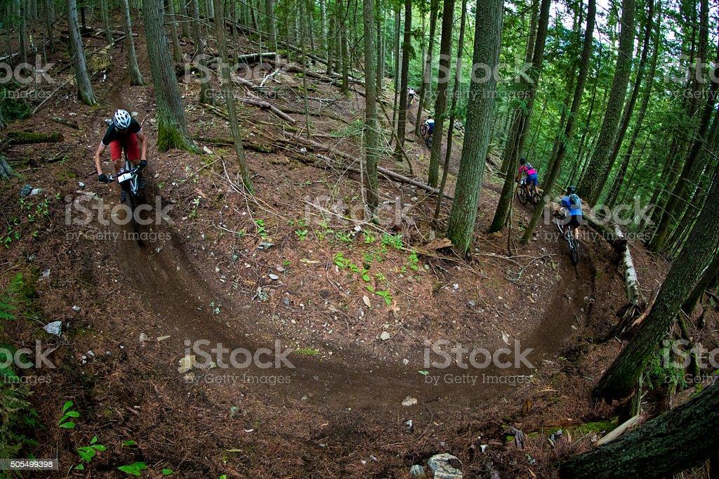 Five Mountain Bike Racers stock photo