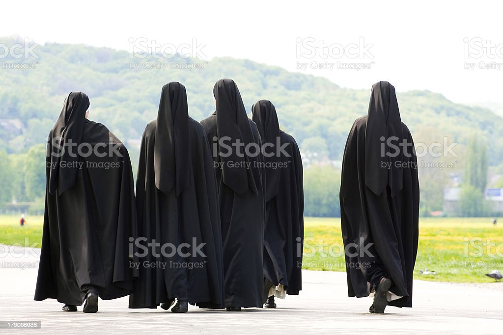 Five nuns stock photo