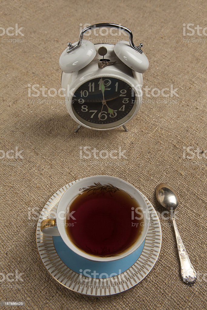 Five o'clock - Time for cup of tea stock photo