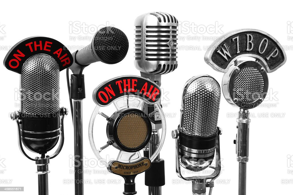 Five old and new microphones stock photo