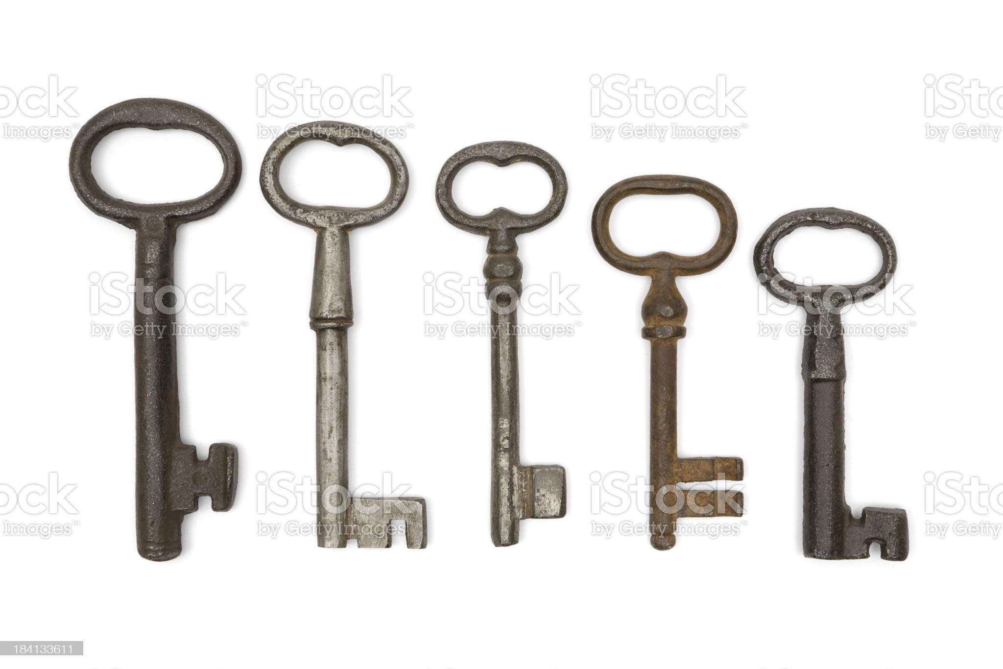 Five Old Keys royalty-free stock photo
