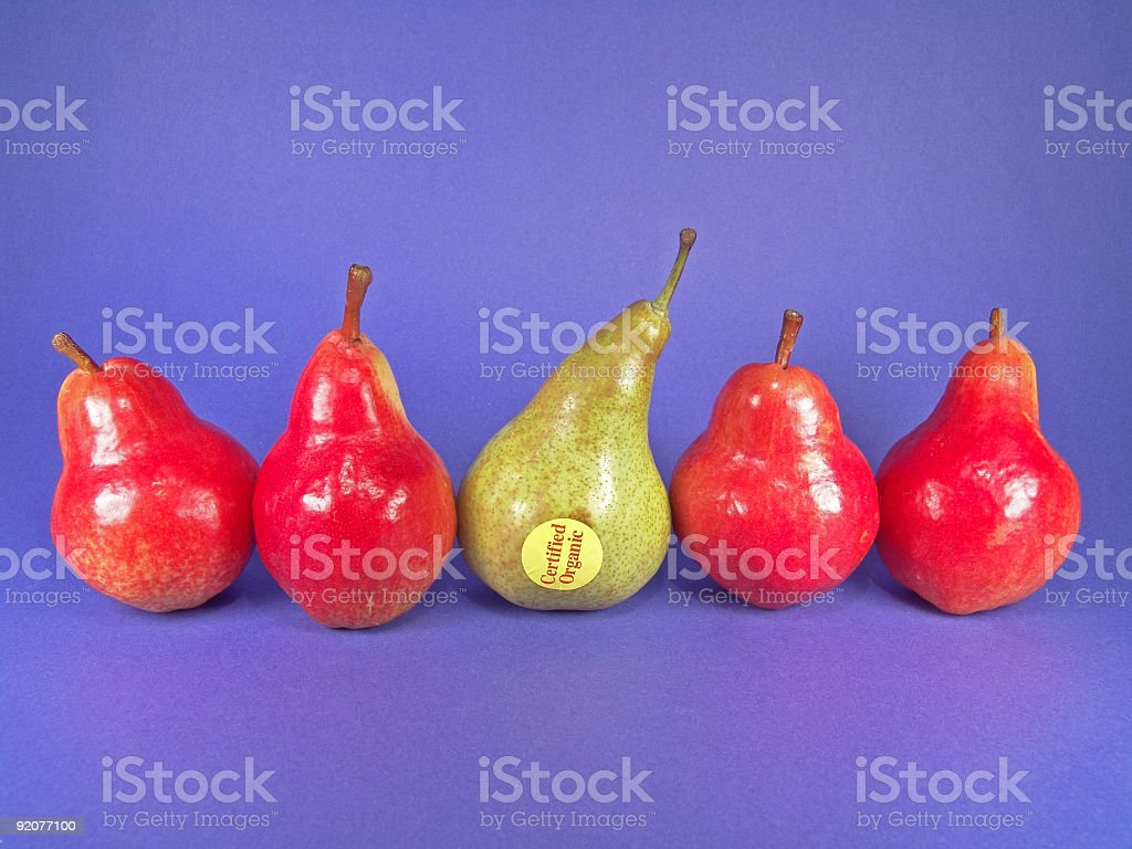 Five Organic Pears (One Green) royalty-free stock photo