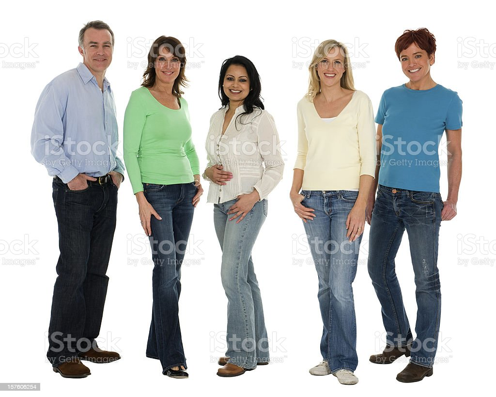 Five people in jeans royalty-free stock photo