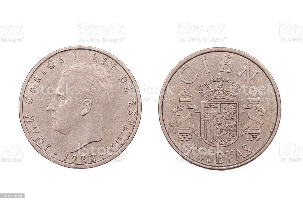 Five Peseta from Spain 1982 stock photo