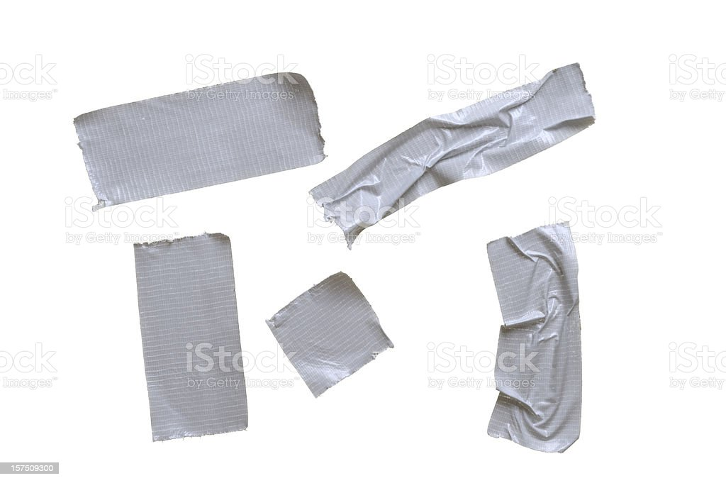 Five pieces of duct tape on pure white background stock photo