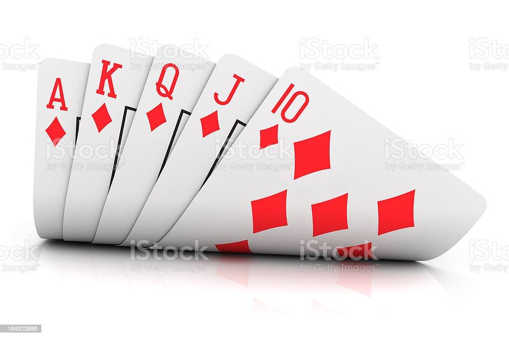 Five playing cards displaying a royal diamond flush stock photo